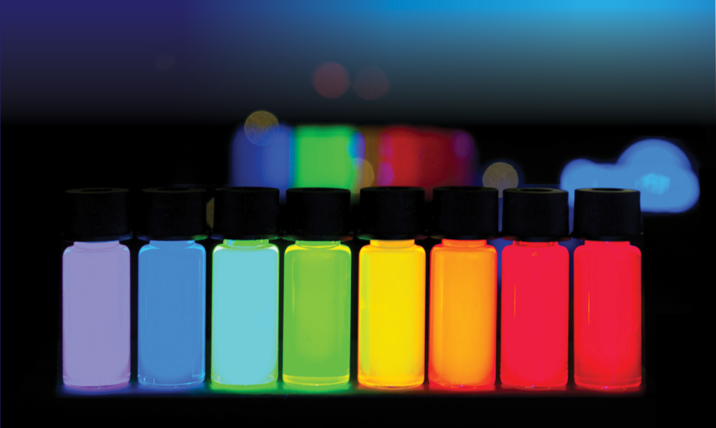 Fluorescent quantum dots of various sizes and colours