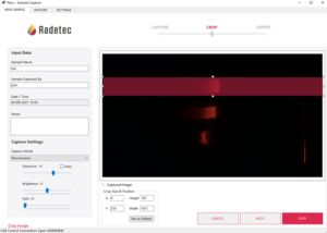 Screenshot of the Flare software. A Region Of Interest is selected on an agarose gel loaded with QDs, after electrophoresis.