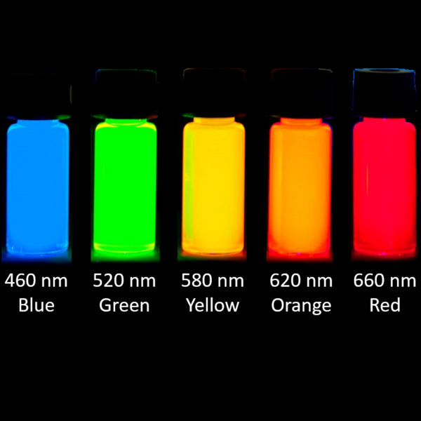 Fluorescent quantum dots nanoparticles of various emission wavelengths, soluble in organic solvents or water.